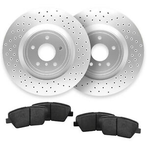 For 2013 2014 Ford Mustang Rear Cross Drilled Brake Rotors Ceramic Pads