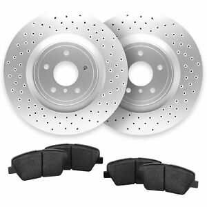 For 2013 2014 Ford Mustang Front Cross Drilled Brake Rotors Ceramic Pads