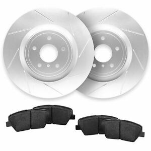 For 2013 2014 Ford Mustang Rear Slotted Brake Rotors Ceramic Pads