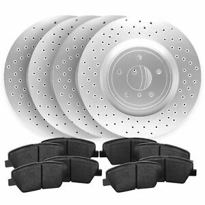 For 2013 2014 Ford Mustang Front rear Cross Drilled Brake Rotors Ceramic Pads