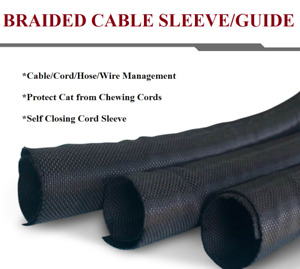 Braided Wire Loom Tubes Cable Sleeves Cord Organizer Wrap Wires Cover Sleeve Lot