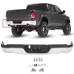 For 2009 18 Dodge Ram 1500 10 12 2500 3500 Complete Chrome Rear Bumper Assembly