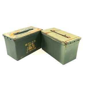 USGI .50 Cal 100 Round Ammo Can US Military Metal Ammunition Box 2 PACK DEFECT $25.99