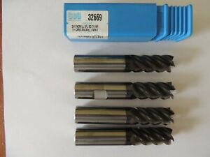 Lot Of 4 Sgs Kyocera 3 4 Dia Carbide End Mills 32669