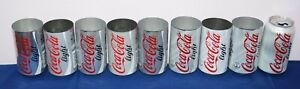 9 different Coca-Cola Light TEST cans 330ml UK ---VERY HARD TO FIND---