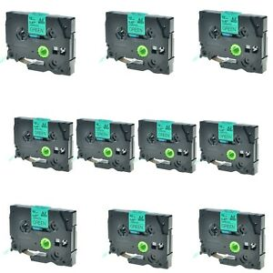 10pk Tz731 Tze731 Black On Green 1 2 Label Tape For Brother P touch Pt 2700