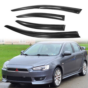 Fit 08 17 Mitsubishi Lancer Smoke Window Rain Visors Shade Slim Style Guard Vent
