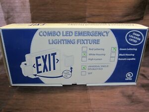 Combo Led Emergency Exit Sign Light Fixture White Housing green Lettering New