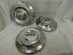 Set Of 3 Oem 1952 Ford Dog Dish Vintage Poverty Hubcaps