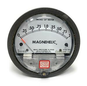 Magnehelic 2002c Pressure Guage 0 2 Inches Of Water 15 Psig Max Press