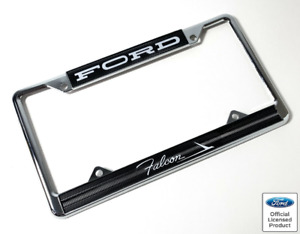 Chrome Metal License Plate Frame For Ford Falcon Black W Script Emblem