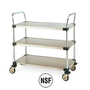 Metro Mw203 3 Shelf Utility Cart With Solid Stainless Steel Shelves 18 X 24