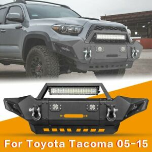 Front Bumper W Led Lights D rings Fit Toyota Tacoma 2005 2015 Offroad Guard