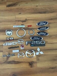 Vintage Car Emblem Lot Of 20 Ford Lincoln Dodge Cadillac Toyota Emblems