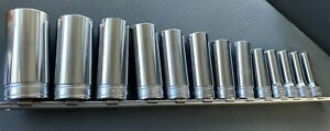 Snap On Tools 13 Piece 3 8 Drive 6 Point Deep Socket Set 1 4 To 1 Inch