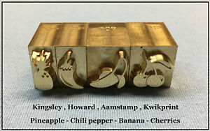 Hot Foil Stamping Machine 4 fruit Brass Dies Leather Bookbinding Art