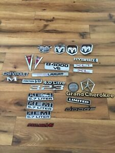 Vintage Car Emblem Lot Of 25 Jeep Dodge Pontiac Chevrolet