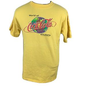Vintage Coca Cola T Shirt Atlanta 90s USA Soda Pop Tee Coke Yellow Medium