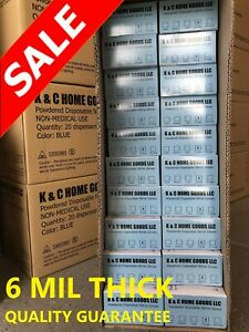 6 Mil Thick Heavy Duty 1000 Lightly Powdered Textured Nitrile Glove Blue Durable