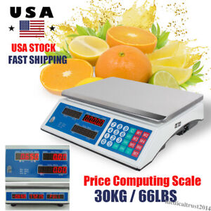30kg 66lbs Digital Weight Price Computing Scale Retail Count Food Meat Market