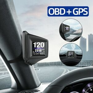 Universal Hud Headup Display Obd2 Gps Dual System Car Speed Windshield Projector