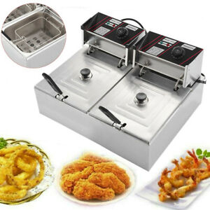 5000w Electric Deep Fryer 12 Liter Dual Tank Commercial Restaurant Frying Basket