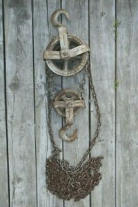 Vintage One Ton Differential Chain Hoist Block Pulley Made In Canada