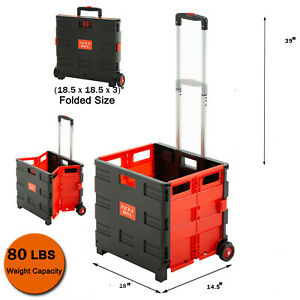 Shopping Cart Collapsible Basket Folding Trolley 2 wheel Rolling Plastic Picnic