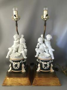 Vtg Italian Neoclassical Gold Wood Porcelain Cherubs W Flowers Table Lamp Pair