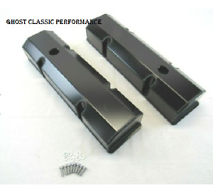Small Block Chevy Sbc 350 Fabricated Tall Valve Covers Black Anodized Sharp New