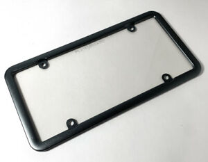 Charcoal Anodized Aluminum License Plate Frame W Unbreakable Plastic Shield