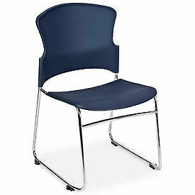 Ofm Multi use Plastic Stack Chair Navy Lot Of 4
