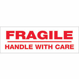 3 x110 Yds Printed Carton Sealing Tape fragile Handle With Care Red white