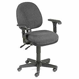Multifunction Task Chair With Adjustable Armrests Fabric Upholstery Black