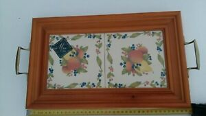 Maw Company Decorative Two Tile Serving Tray With Two Brass Handles