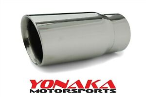 Yonaka Single Stainless Steel Universal Angled Exhaust Tip 2 5 Inlet 3 Outlet