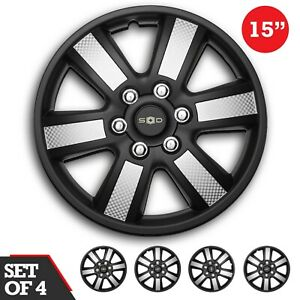 Swiss Drive Set 4 Hubcaps 15 Wheel Cover Sepang Black Silver Abs Easy Install