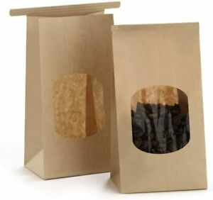 Bagdream Bakery Bags With Window Small Kraft Paper Bags 100pcs 3 54x2 36x6 7