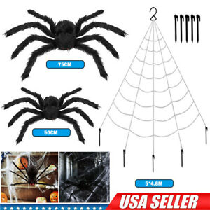 Giant Spider Web 16.4FT Halloween Decorations w Super Stretch Cobweb Yard Decor