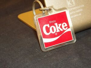 Vintage Enjoy Coca Cola 100 Centennial Celebration Square Keychain 1 1/2 in.