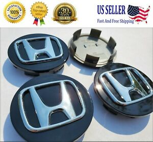 Honda Set Of 4 Black Silver Wheel Center Caps 69mm Satisfaction Guaranteed