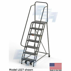 Ega L027 Steel Industrial Rolling Ladder 7 step 24 Wide Perforated Gray 450