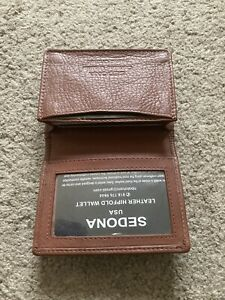 Sedona Leather Business Card Holder With License Window Outer Pocket