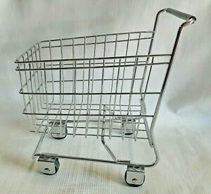Toy Doll Replica Shopping Basket Cart Metal Silver Wire For Kids Home Decor
