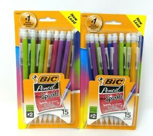 2 Lot Bic Mechanical Pencils Xtra Sparkle 0 7mm Assorted 15 Ct W 2 Two Lead 30