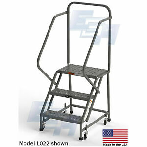 Ega L022 Steel Industrial Rolling Ladder 3 step 24 Wide Perforated Gray 450