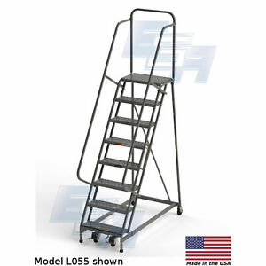 Ega L073 Steel Industrial Rolling Ladder 8 step 30 Wide Perforated Gray 450