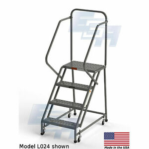 Ega L042 Steel Industrial Rolling Ladder 4 step 30 Wide Perforated Gray 450