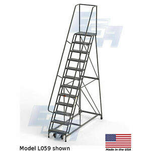 Ega L059 Industrial Rolling Ladder 12 step 26 Wide Perforated Gray 450lb