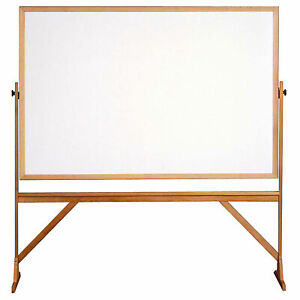 Ghent 174 Mobile Reversible Double Sided Acrylite Whiteboard Wood Frame 78 w